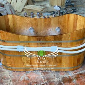 bồn tắm sục massage gỗ pơmu