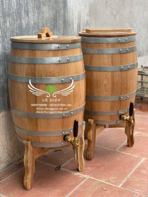 thùng rượu gỗ sồi 50l dáng đứng