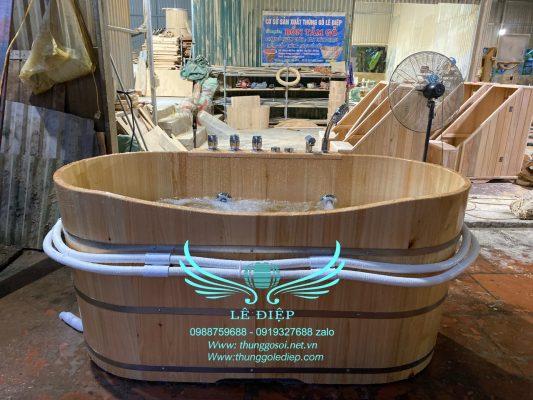 bồn tắm sục massage gỗ hinoki