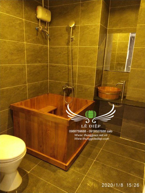 bồn tắm góc gỗ pơ mu