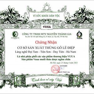 giấy chứng nhận phân phối thảo dược ngâm chân