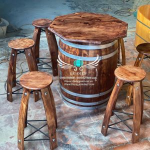 bán bàn thùng rượu gỗ