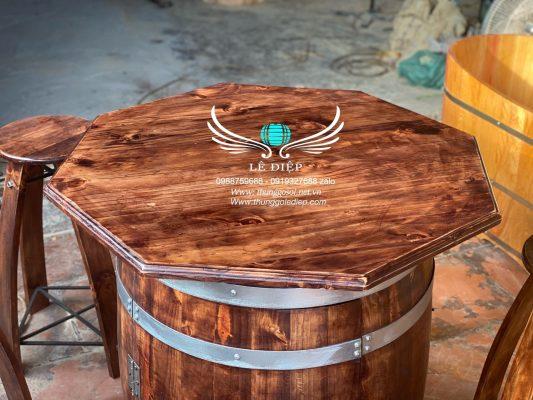 bàn thùng gỗ