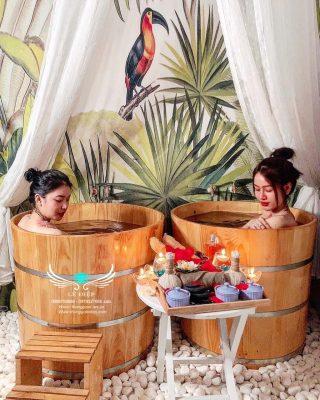 thùng tắm gỗ spa