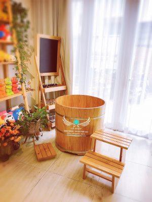 bồn tắm gỗ thảo dược