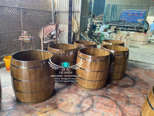 thùng tắm gỗ dổi