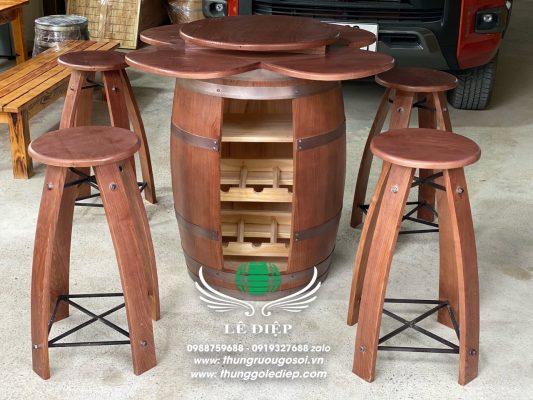 bàn ghế thùng rượu quán bar