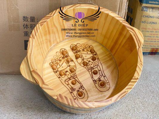 chậu gỗ ngâm chân laser hình bàn chân