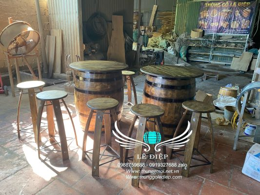 thùng trang trí bằng gỗ