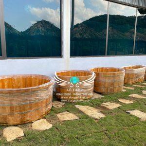 bồn tắm gỗ resort tại hà nội