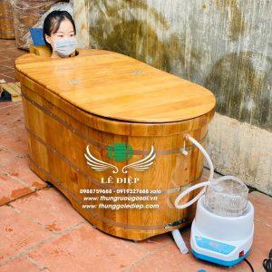 bồn tắm xông hơi gỗ pơ mu